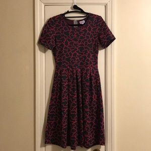 Lularoe Grey and Pink Short-Sleeve Dress